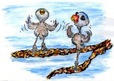 Baby birds trying to fly - illustration from the free children's picture book 'Cricket and Watson'