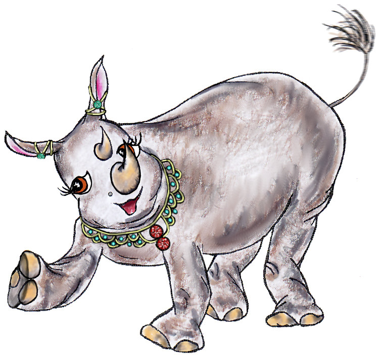 Heloise, the jewellery-wearing rhinoceros from the children's book 'Meet Heloise'.